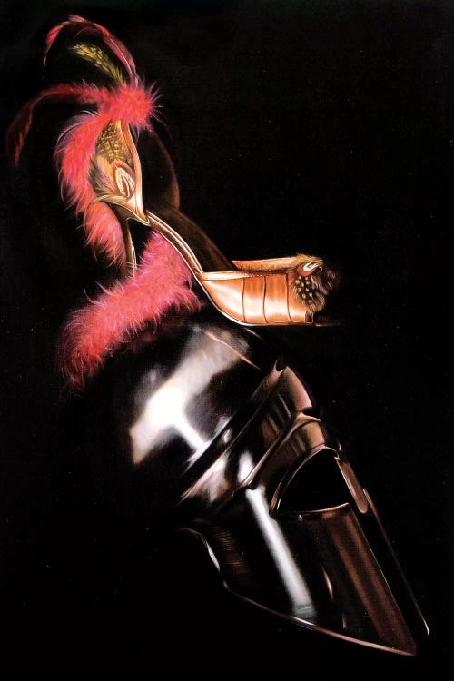 Wall art of a heeled shoe atop an armored helmet by iCanvas female artist Rose Morrison