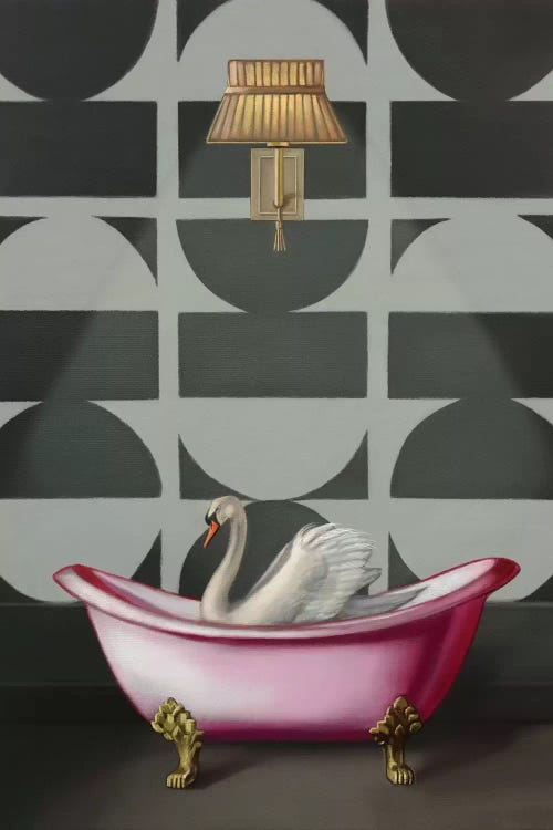 Wall art of a swan in a pink clawfoot tub in front of black and white wallpaper by iCanvas artist Rose Morrison