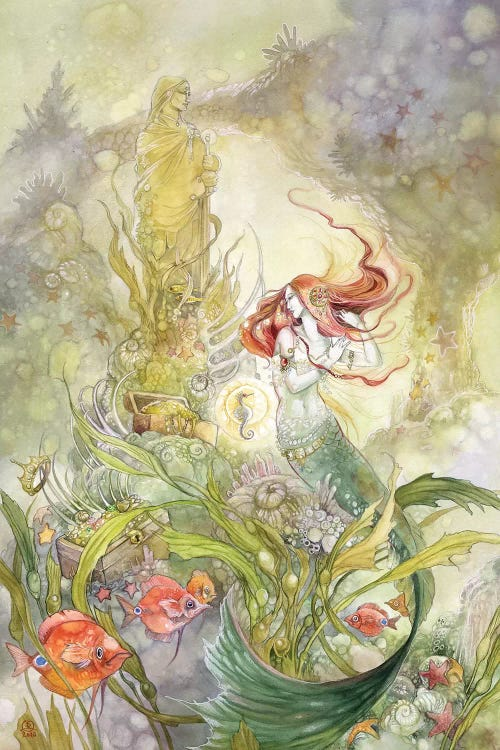 Fantasy art of a mermaid under the sea surrounded by fish and seaweed by female artist Stephanie Law
