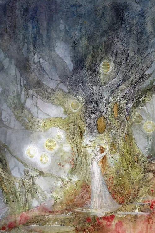 Fantasy art of angelic woman under a tree by iCanvas female artist Stephanie Law