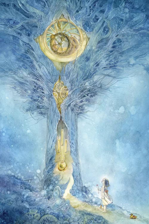Fantasy art of little girl looking up at blue tree wiith gold clock within by Stephanie Law