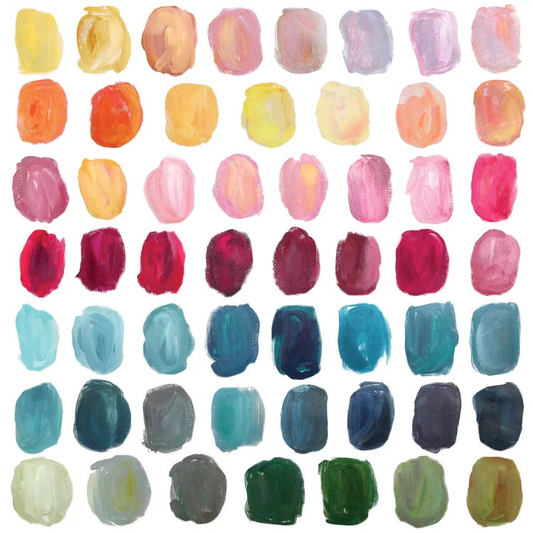 Wall art of colorful paint splotches by iCanvas female artist Stephanie Corfee