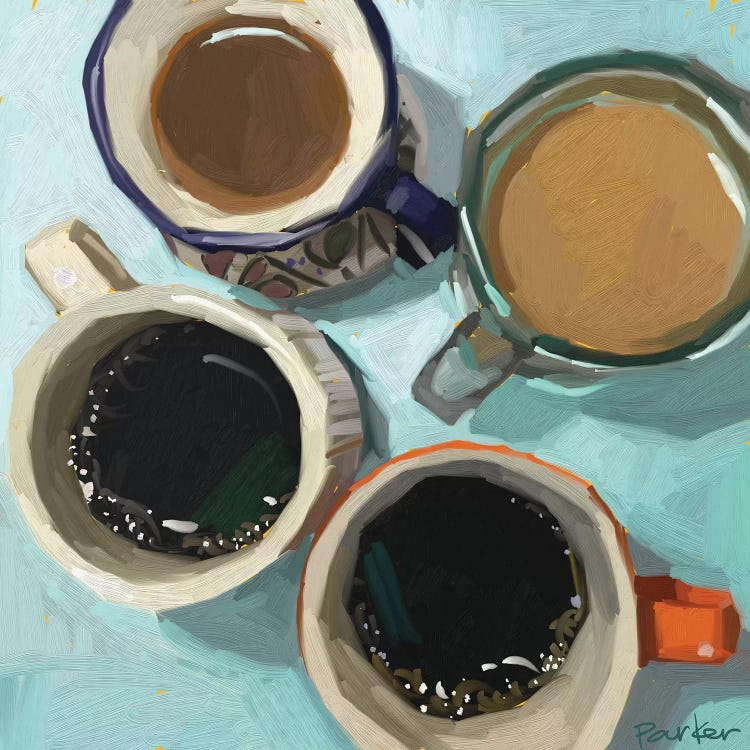 Oil painting of four coffee cups by iCanvas female artist Teddi Parker