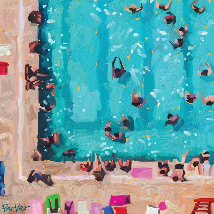 Oil painting of an aerial view of a community pool by iCanvas female artist Teddi Parker