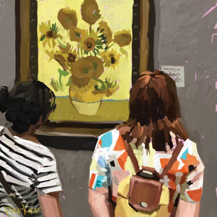 Oil painting of two women looking at Van Gogh's Sunflowers
