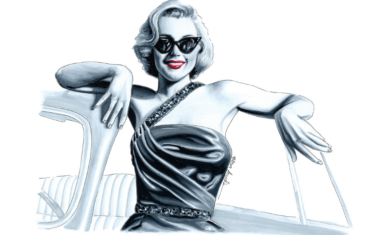 Black and white illustration of Marilyn Monroe in sunglasses leaning against a car by Elza Fouche