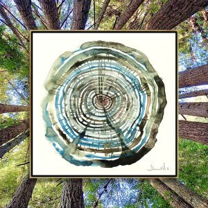 Wall art of blue and green tree stump lines by iCanvas artist Dan Hobday