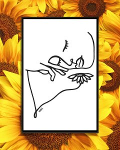 Line drawing of a face above a sunflower by iCanvas artist Ninhol