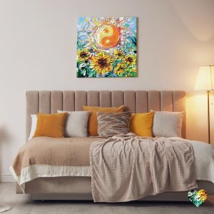 Wall art of an orange and white yin yang sign above a sunflower field by iCanvas artist Aja Trier