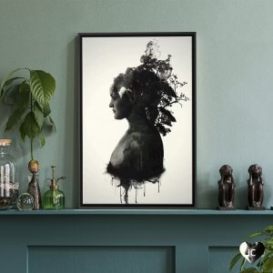 Black and white profile of a woman with forest growing out of head by iCanvas artist Niklas Gustafsson