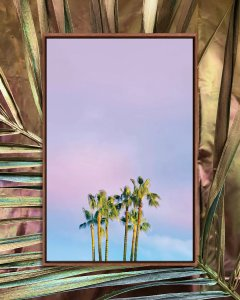 Wall art of palm trees against a purple and blue sky by iCanvas artist Beli
