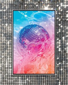 Wall art of a shiny disco ball in pink orange and blue water