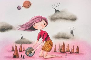 Earth Day illustration of a girl in pink planet trying to save the earth by iCanvas artist Femke Muntz