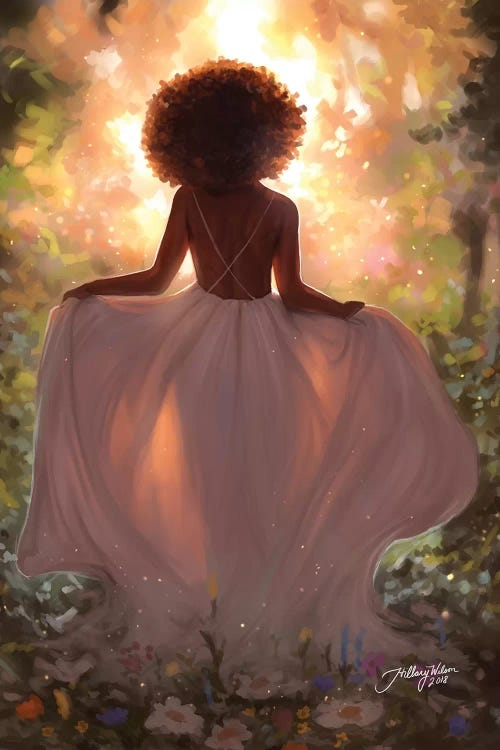 Wall art of a black woman facing a glowing forest by iCanvas artist Hillary D Wilson