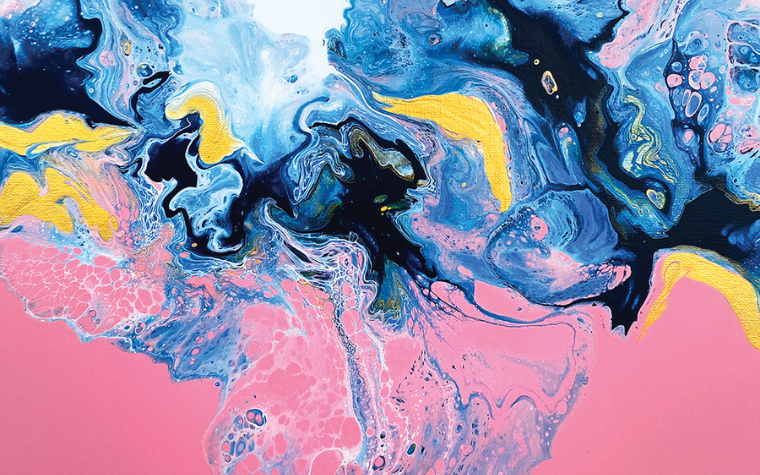 Contemporary abstract painting featuring pink yellow and blue splashes of color by Spellbound Fine Art