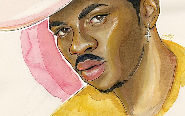 Portrait of Lil Nas X by iCanvas artist Sean Ellmore