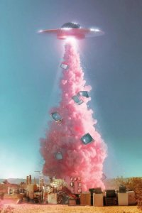 Virtual escapism wall art featuring space ship with pink smoke abducting technology from Earth