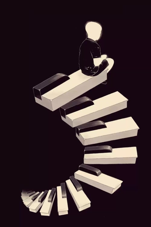 Black and white wall art of piano keys as steps with boy at the top by iCanvas artist Mathiole