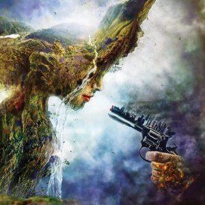 Wall art of Mother Earth facing a gun in shape of city skyline by iCanvas artist Mario Sanchez Nevado