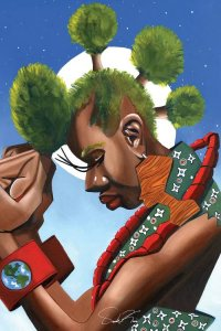 Earth Day art of black Mother Earth with tree line mohawk against a night sky by Oronde Kairi