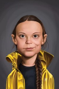 Caricature portrait of climate activist Greta Thunberg by iCanvas artist Rob Snow
