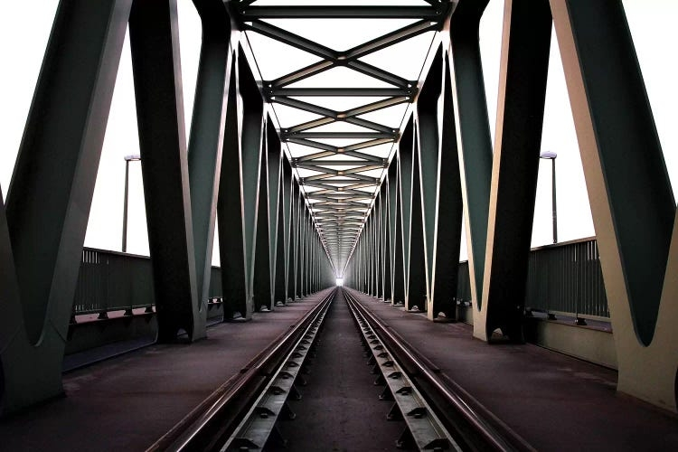 Symmetrical photography of an industrial bridge by iCanvas artist Zoltan Toth