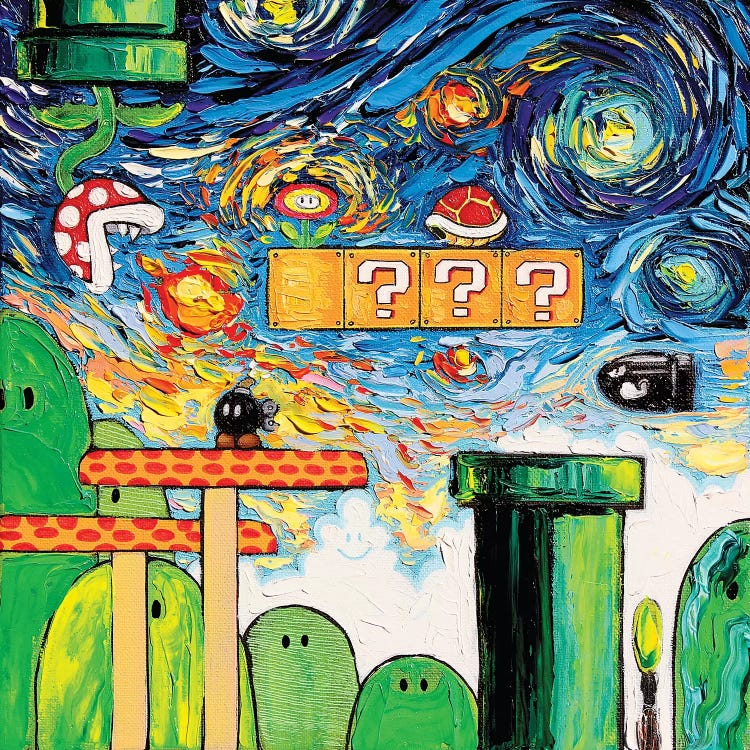 Painting of a Super Mario video game scene against Van Gogh's Starry Night by iCanvas artist Aja Trier
