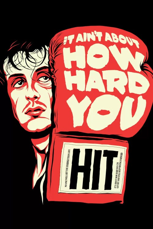 """Red and black pop culture print of Rocky Balboa holding up glove that says """"It Aint About How Hard You Hit"""" by Butcher Billy"""