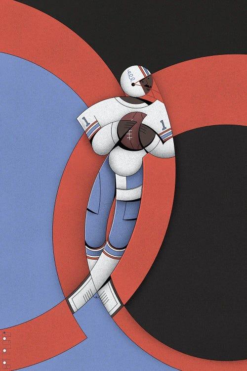 Blue, red and black geometric abstract sport art of football player Warren Moon by iCanvas artist John Battalgazi