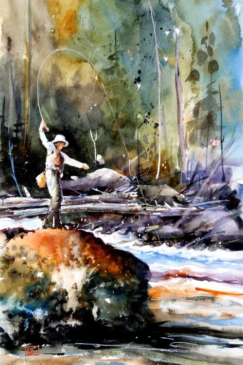 Outdoorsy art painting of fisherman casting a line on the river from a rock by iCanvas artist Dean Crouser
