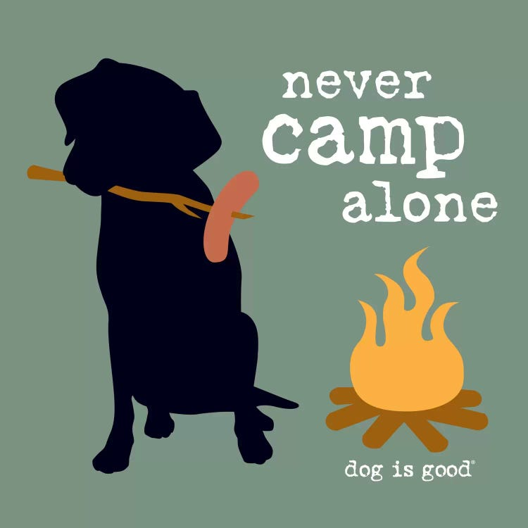 """Pet art of faceless portrait of black dog with hotdog on a stick by campfire and words """"never camp alone"""""""