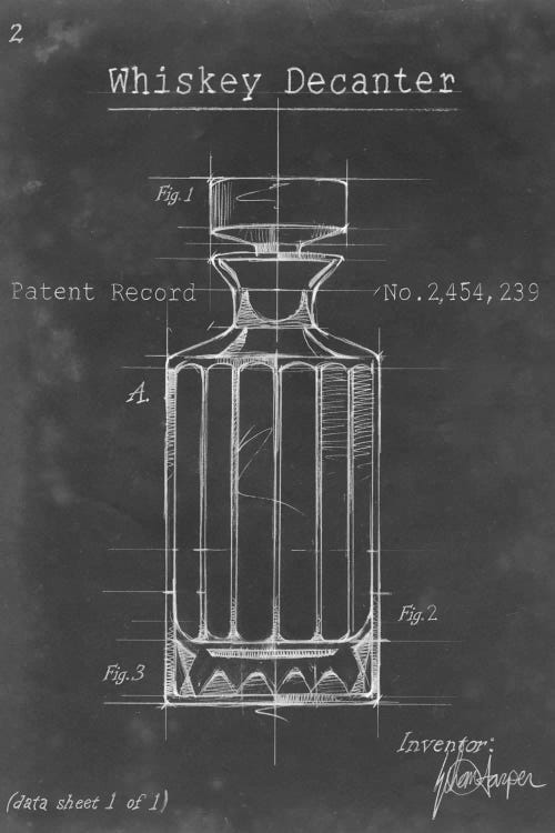 Sophisticated art blueprint of a whiskey decanter by iCanvas artist Ethan Harper
