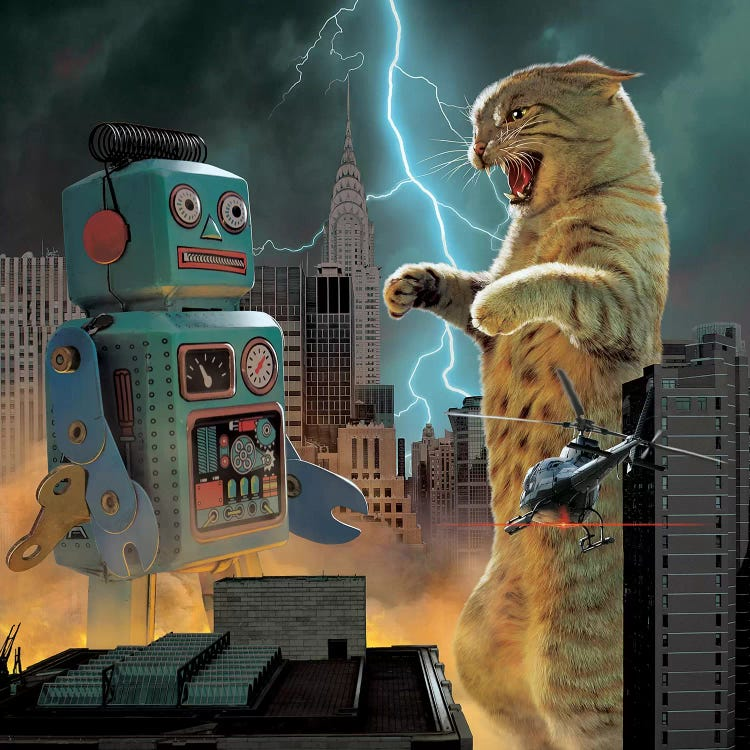 Pet art of a giant cat as Godzilla about to fight a robot during storm in the city by iCanvas artist Vincent Hie