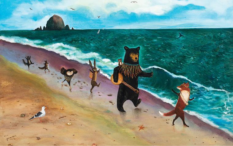 Painting of woodland creatures running along the beach by Jahna Vashti