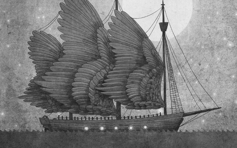 black and white sailboat art with wings