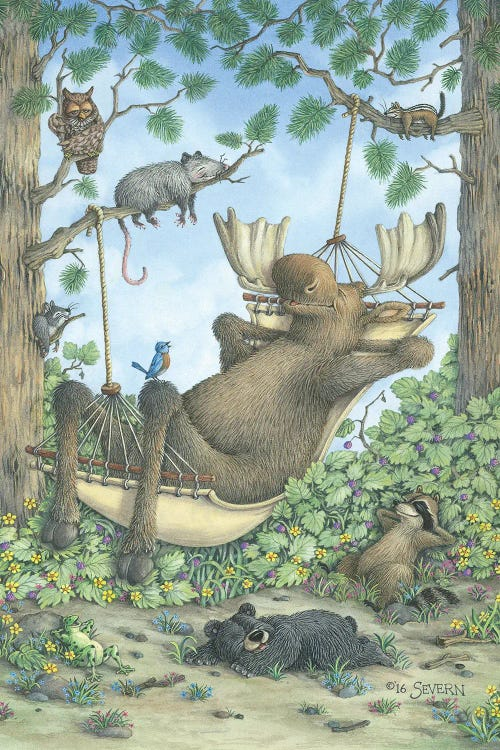 Outdoorsman art illustration of moose in a hammock with woodland creature friends by iCanvas artist Jeffrey Severn