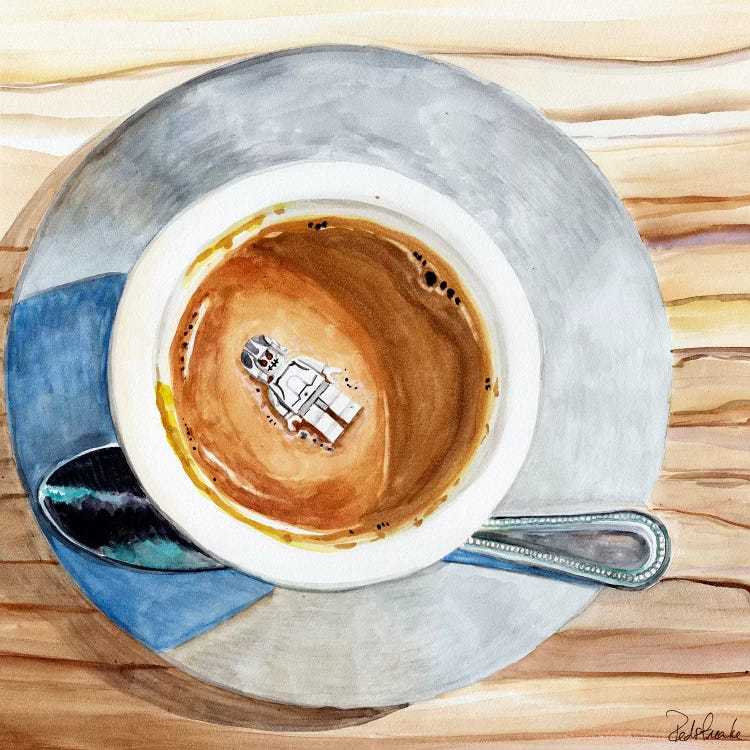 Aerial art of a coffee cup with a white lego floating on top of the coffee by iCanvas artist Jennifer Redstreake