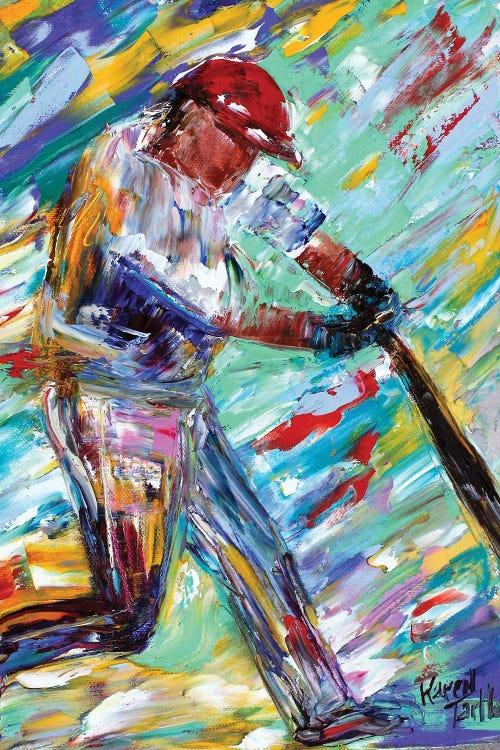 Colorful impressionistic sport art of baseball player hitting a grand slam by iCanvas artist Karen Tarlton