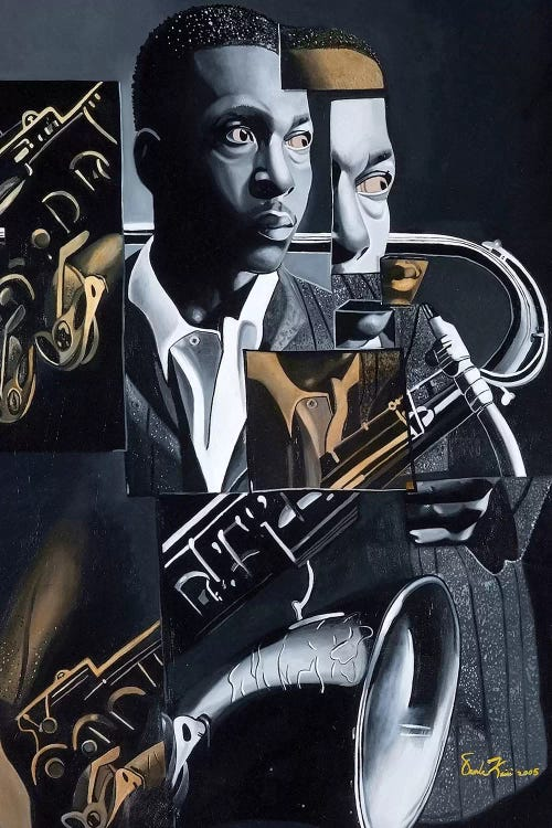 Black and white abstract sophisticated art of John Coltrane playing sax by iCanvas artist Oronde Kairi