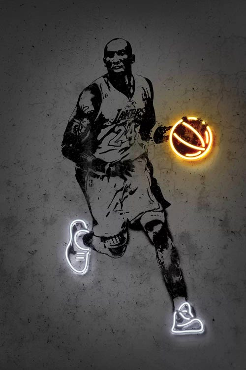 Black and white sport art of Kobe Bryant with orange neon basketball and white neon shoes by iCanvas artist Octavian Mielu