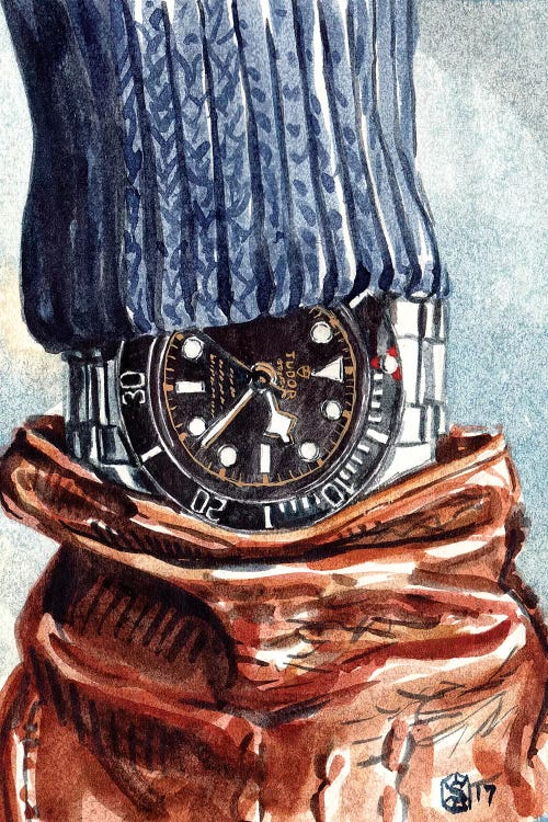 Sophisticated art closeup of a wrist watch, brown glove and blue sweater by iCanvas artist Sunflowerman