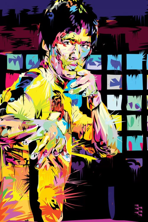 Vibrant abstract portrait of Bruce Lee by iCanvas artist TECHNODROME1