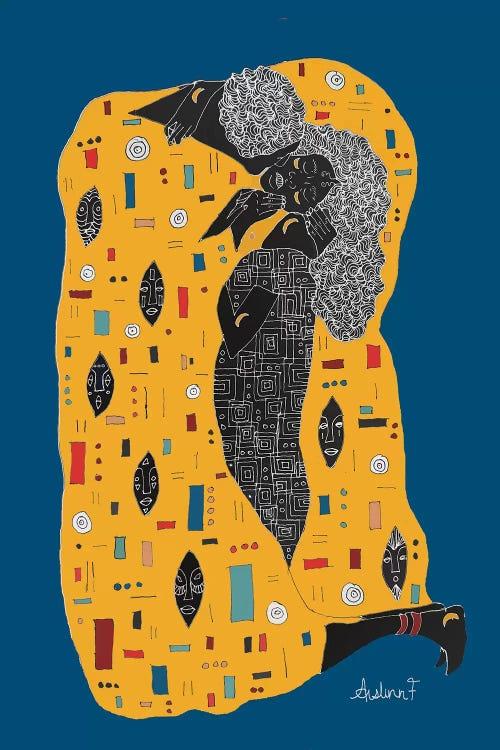 Modern classic art of Gustav Klimt's The Kiss reimagined by iCanvas artist Aislinn Finnegan