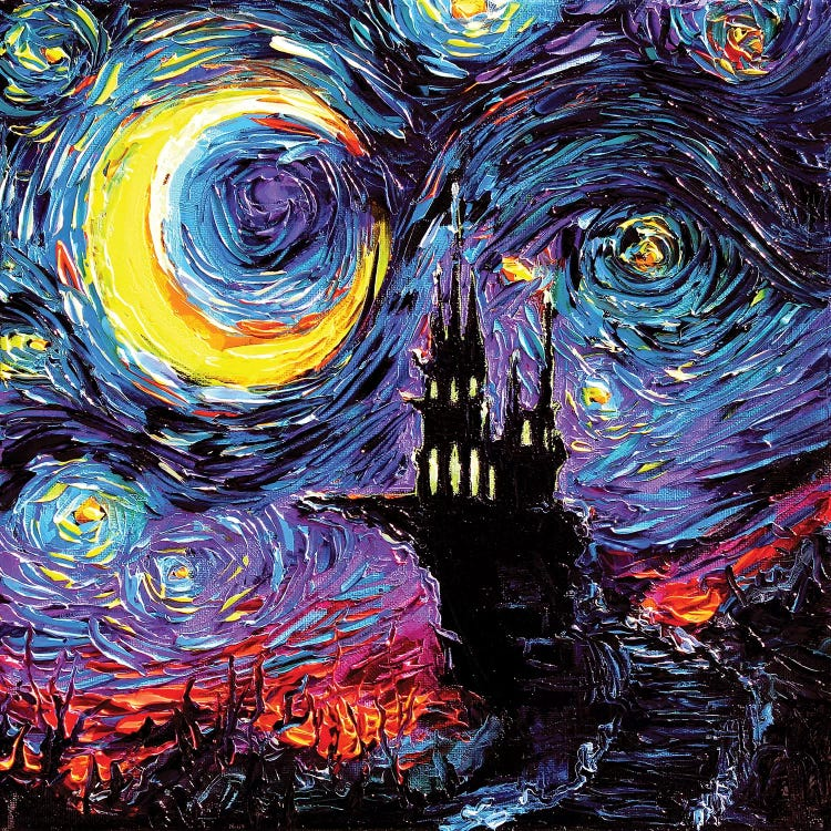 Classical art of Van Gogh's Starry Night reimagined with silhouette of haunted castle by iCanvas artist Aja Trier