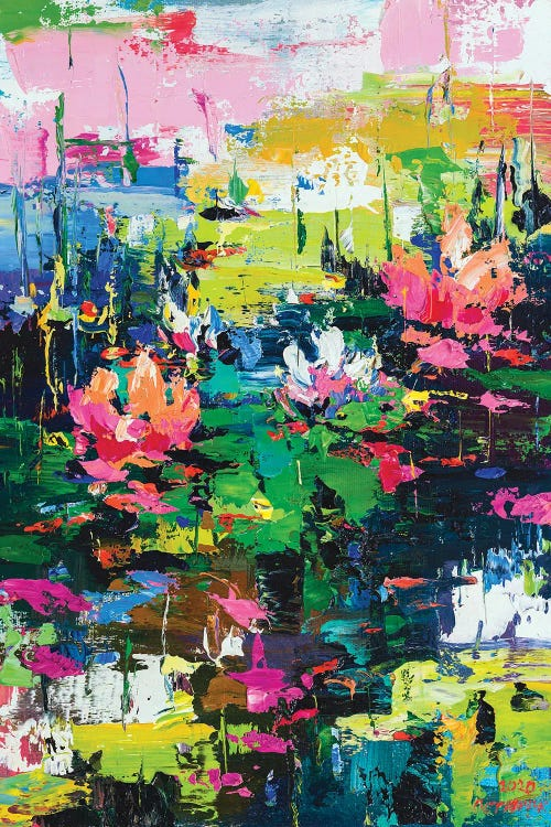Classical art of Monet's water lilies reimagined with vibrant abstracts by iCanvas artist Andrej Ostapchuk