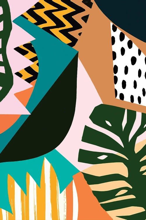 Classical art reimagined of Matisse's cut-outs with contrasting patterns and shapes by iCanvas artist Art Mirano