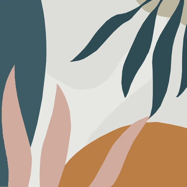 Classic art print reimagining Matisse's cut-outs with earth tones and leaves by iCanvas artist Art Mirano