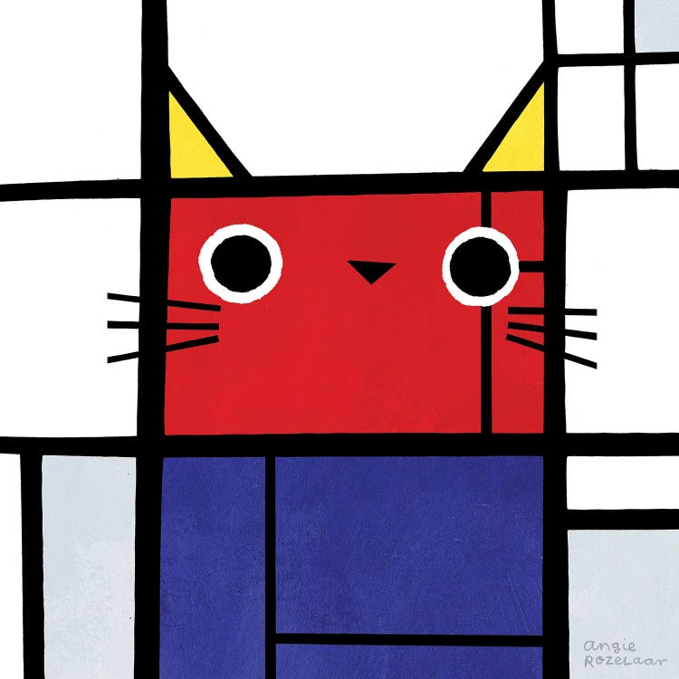 Classic art reimagined of Composition With Red, Blue and Yellow featuring a cat by iCanvas artist Angie Rozelaar