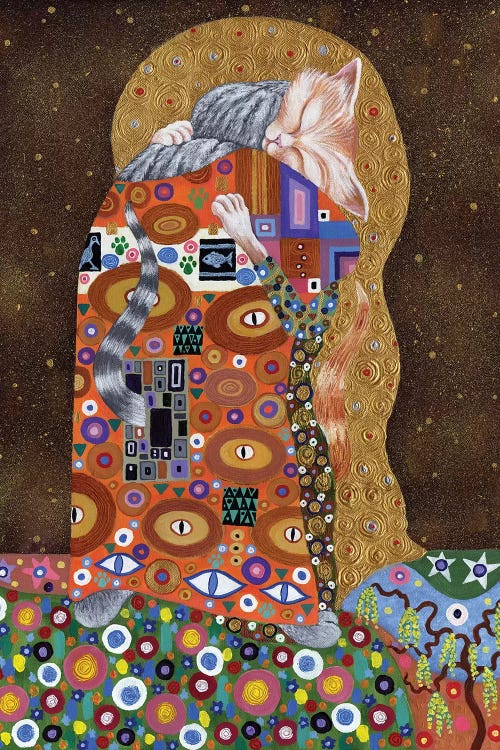 Modern classic art of Gustav Klimt's The Kiss reimagined with two cats by iCanvas artist David Newton
