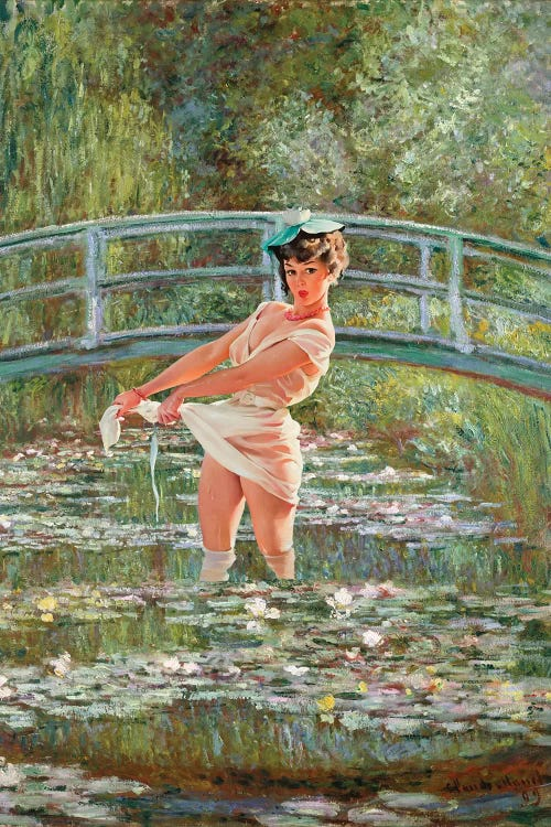 Classical art of Monet's Water Lilies reimagined with pin-up girl in water ringing out white dress by iCanvas artist Jason Brueck